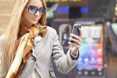 Fashionable girl on phone